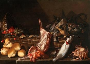 Giovanni Battista Ruoppolo - Natura morta con pani frutta e selvaggina e pesci