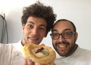 a sx Valentino Tafuri e pizza con legumi
