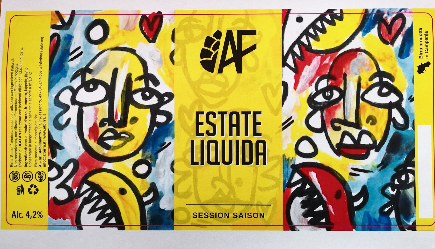 Estate Liquida, etichetta stampata