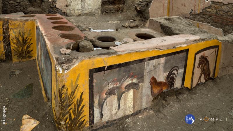 """Anatre, lumache, fave e altri cibi nel """"Bistrot"""" ritrovato a Pompei"""